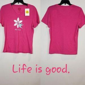 Life Is Good Humming Bird Flower Vee T-Shirt Small